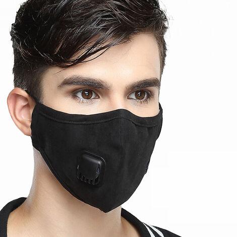 Anti Pm2,5 Pollution Poussiere Masque De Filtre A Air Masques Bouche Chaude Appareil Respiratoire Avec Filtre Remplacable, Homme, Noir
