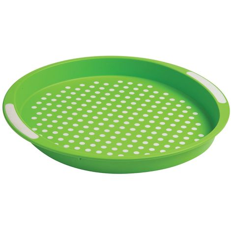Anti-Slip serving tray,pp & tpe,green with white dots