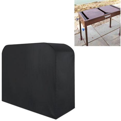 Anti-UV Imperméable à la poussière noir Tissu Pliant Barbecue Housse De Protection En Plein Air Gaz Charbon Électrique Grill Cou