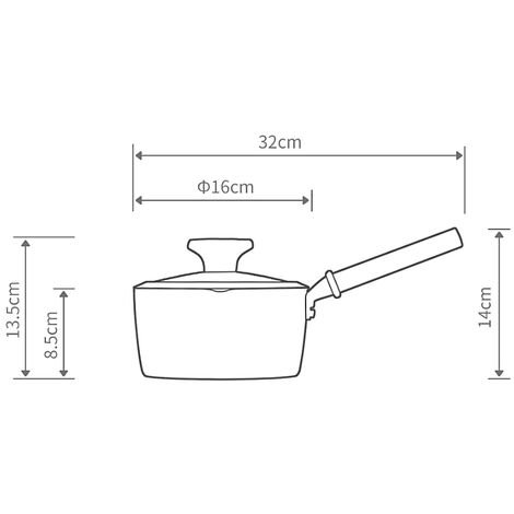 Antiadhesive 16Cm Pour Rechauffer Soupe Au Lait De Cuisson Pancake Maker Gateau Cuisine Pot Pour Egg Steak Skillet Grill Pour Omelette Faire Cooker Four En Alliage D'Aluminium 1.5L, Noir