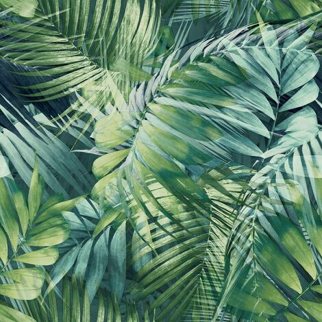 Antigua Palm Green Blue Wallpaper Grandeco Tropical Jungle Leaf Navy Textured