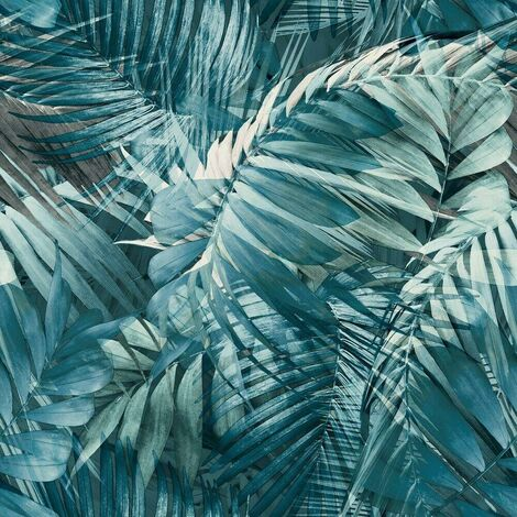 Antigua Palm Navy Blue Wallpaper Grandeco Tropical Jungle Leaf White Textured