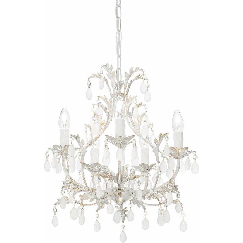 01-ideal Lux - Antike weiße Pendelleuchte CASCINA 5 Glühbirnen