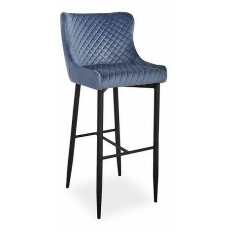 ANTIMO | Tabouret de bar élégant + dossier haut | 109x46x42 cm | Chaise de bar | Chaise haute cuisine tissu velouté - Gris