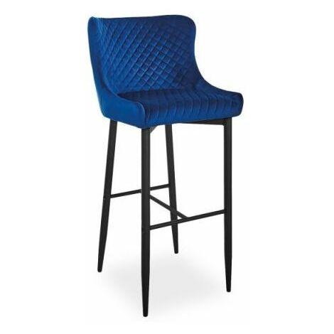 ANTIMO | Tabouret de bar élégant + dossier haut | 109x46x42cm | Chaise de bar | Chaise haute cuisine tissu velours - Bleu