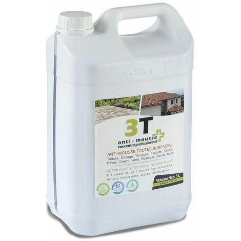 Antimousse concentré 3T 5 litres à diluer pour 1000 m² de traitement toit toiture mur et sol