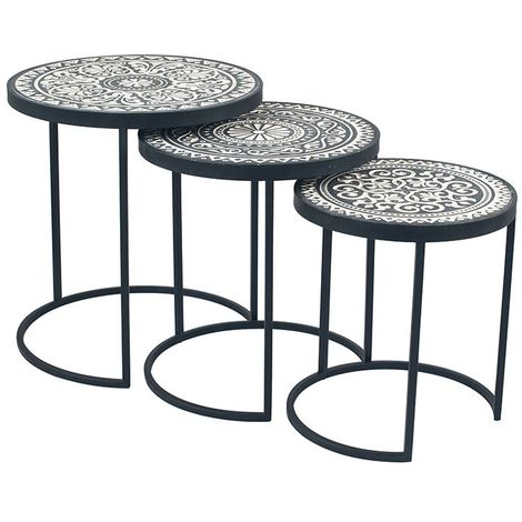 Antique Black & Cream Wood & Iron S/3 Side Tables