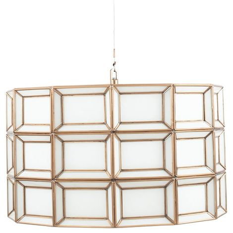Antique Brass and White Finish Glass Pendant Light