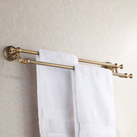 """main image of """"Antique Brass Bathroom Dual Towel Bars 60cm Double Rails Hanger Wall Mounted"""""""
