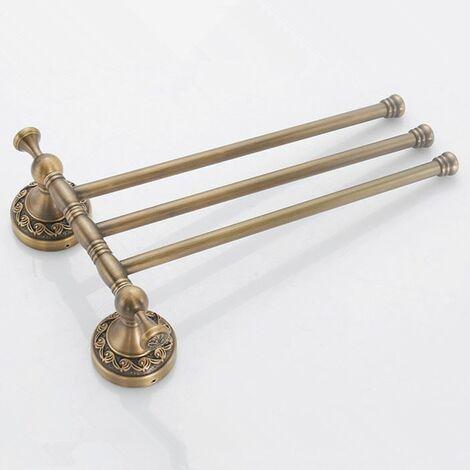 Antique brass bathroom rotatable towel bar triple straight rail 3-tier hanger