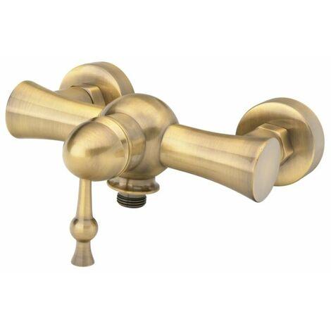 Antique Brass Bathroom Shower Tap with Single Lever + Shower Hose Input