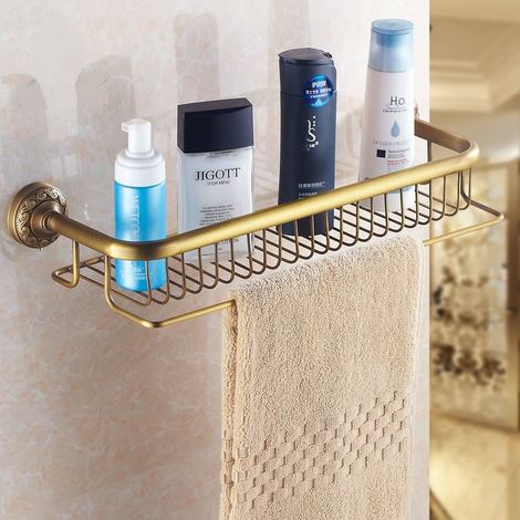 Antique Brass Bathroom Single-Tier Shower Shelf Storage Rack Wall Mounted