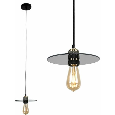 Antique Brass Ceiling Lampholder + Smoked Glass Shade
