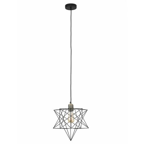 Antique Brass Ceiling Pendant Light + Black Geometric Star Shade - 4W LED Filament Bulb Warm White