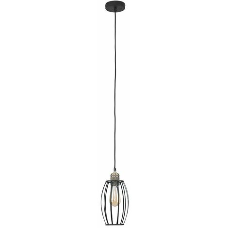 Antique Brass Ceiling Rose & Flex Lampholder + Black Metal Wire Oval Cage Light Shade