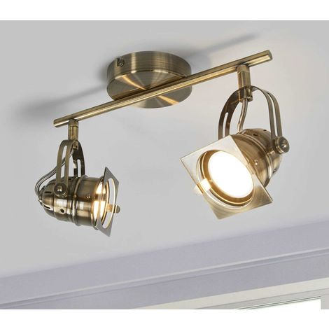 Antique-brass-coloured LED ceiling lamp Janek