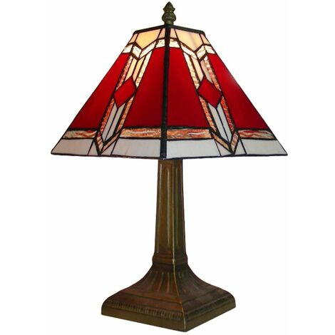 Antique Brass Effect Vintage Style Red White Stained Glass Table Lamp Light - Brown
