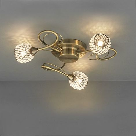 Antique Brass Finish Stylish Aherne 33W 3 Light Ceiling SEMi Flush Fitting