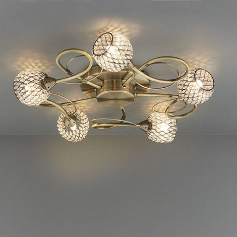 Antique Brass Finish Stylish Aherne 33W 5 Light Ceiling SEMi Flush Fitting