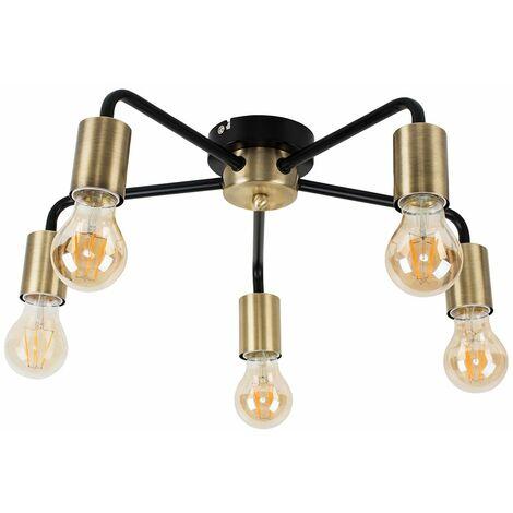 Antique Brass & Matt Black 5 Way Ceiling Light Fitting