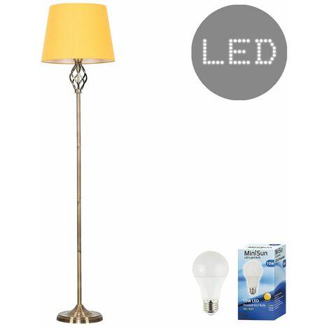 Antique Brass Memphis Twist Floor Lamp + LED GLS Bulb - Mustard - Black