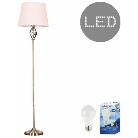 Antique Brass Memphis Twist Floor Lamp + LED GLS Bulb - White - Black