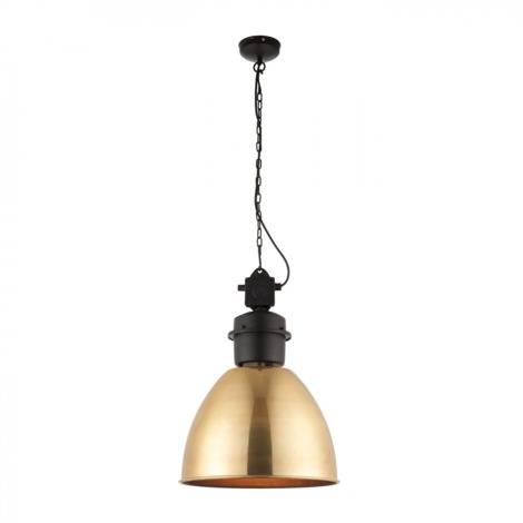 Antique Brass Tinted Lacquer & Matt Black 1lt Pendant 40W by Happy Homewares