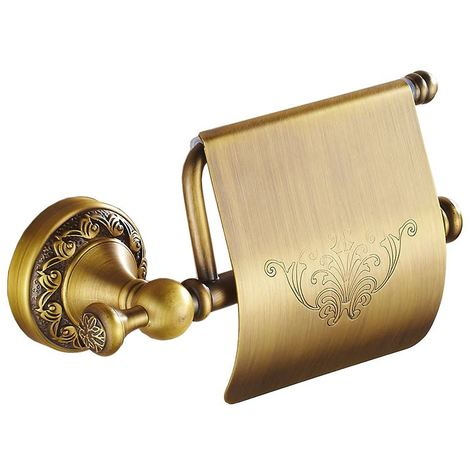 Antique Brass Toilet Elegant Roll Holder with Flap Paper Rack Wall Mounted