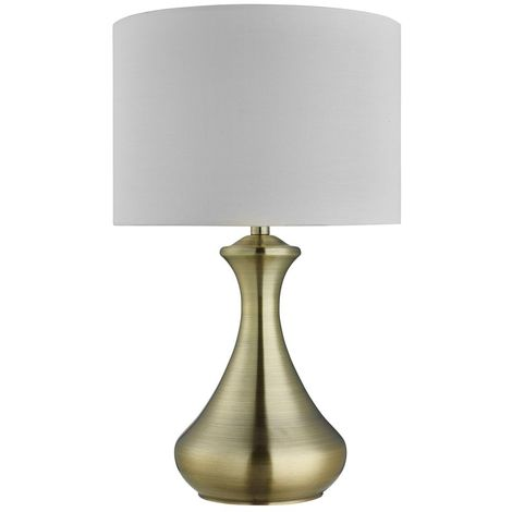 Antique Brass Touch Lamp with Cream Fabric Shade - Lighting Decor