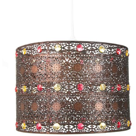 Antique Bronze Acrylic Gem Moroccan Style Chandelier Pendant Light Shade Fitting by Happy Homewares