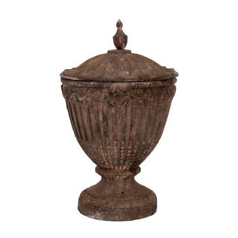 Antique Cast Iron Lidded Toulouse Urn Plant Pot