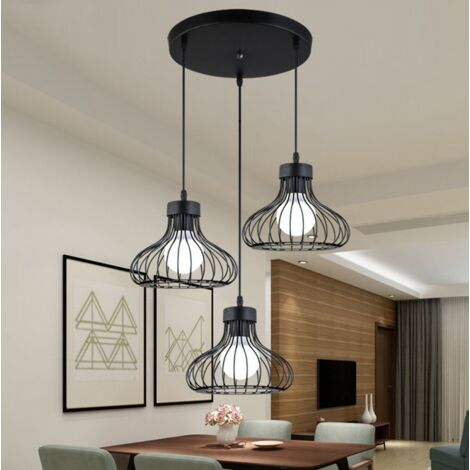 Antique Ceiling Light Black Metal Cage Pendant Light 3 Heads Vintage Chandelier Retro Industrial Hanging Lamp