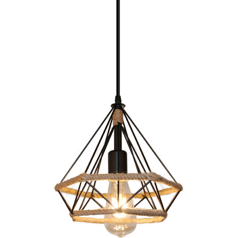 Antique Classic Ceiling Lamp Hemp Rope Pendant Light Creative Droplight Cable Adjustable Lamp Diamond Cage Shape 25cm Chandelier for Cafe Bedroom Indoor Decoration Black