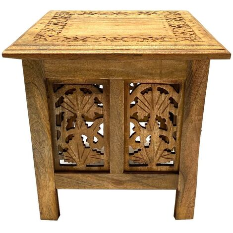 Antique Effect Square Carved Wooden Bedside Lamp Table Side End Coffee Tables
