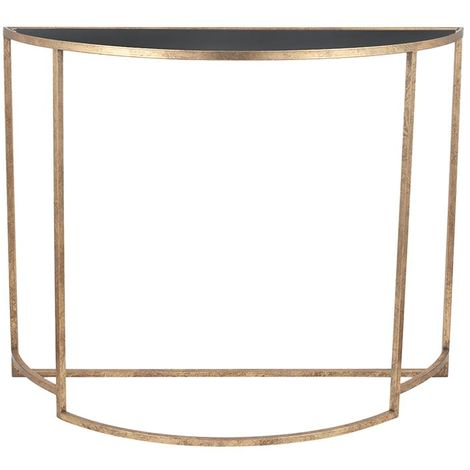Antique Gold Metal & Black Glass Half Moon Console