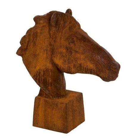 Antique Horse Head Cast Iron Garden Ornament