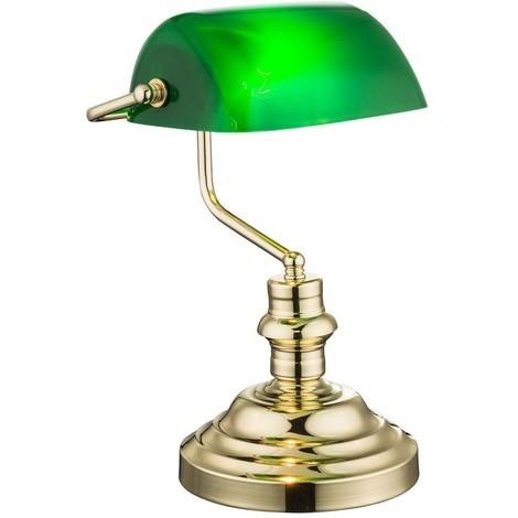 Lampada Da Scrivania In Ottone.Antique Lampada Da Tavolo Studio Ufficio Metallo Ottone Verde Globo