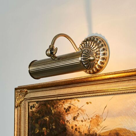 Antique-looking picture light Joely, antique brass