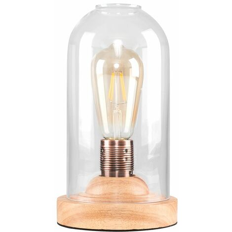 Antique Oak Wood Base & Clear Glass Dome Edison Squirrel Cage Table Lamp