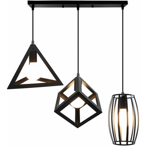 Antique Pendant Light 3 Heads Creative Geometric Shape Black Hanging Lamp Vintage Industrial Pendant Lamp Retro Ceiling Lamp for Cafe Bar Bedroom Kitchen Living Room Office Living Room