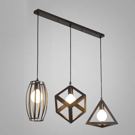 Antique Pendant Light 3 Heads Creative Geometric Shape Black Vintage Hanging Lamp Industrial Pendant Lamp Retro Ceiling Lamp for Cafe Bar