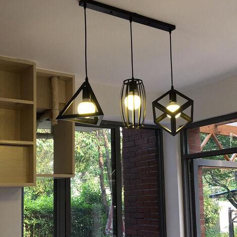 Antique Pendant Light 3 Heads Creative Geometric Shape Black Vintage Hanging Lamp Industrial Pendant Lamp Retro Ceiling Lamp for Cafe Bar Bedroom Kitchen Living Room Office Living Room