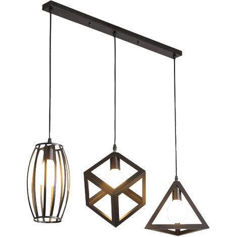 Antique Pendant Light 3 Heads Creative Geometric Shape Vintage Hanging Lamp Industrial Pendant Lamp Black Retro Ceiling Lamp for Cafe Bar