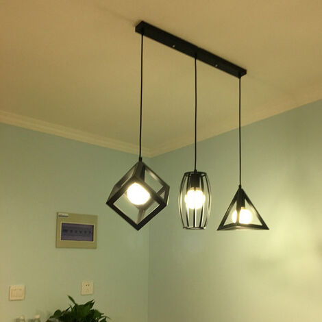 Antique Pendant Light 3 Heads Creative Geometric Shape Vintage Hanging Lamp Industrial Pendant Lamp Black Retro Ceiling Lamp for Cafe Bar Bedroom Kitchen Living Room Office Living Room