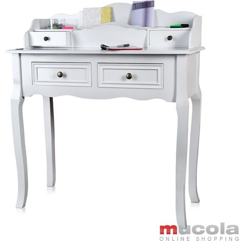 Antique Secretary In White Desk Make Up Table Shabby Chic Country