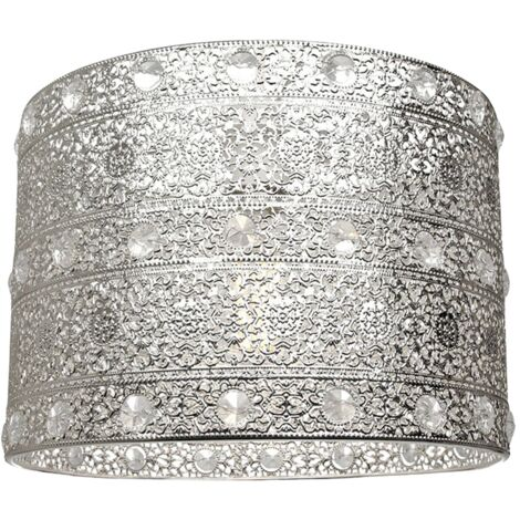 Antique Silver Acrylic Gem Moroccan Style Chandelier Pendant Light Shade Fitting by Happy Homewares