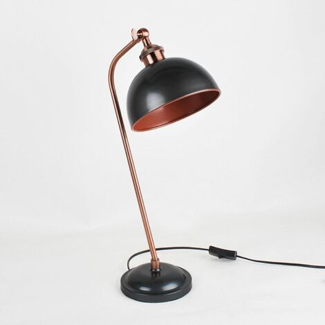 Antique Style Task Lamp in Nickel Painted Finish with Antique Copper Detail