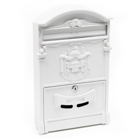 Antique Vintage Mailbox white Letterbox Postbox Pillar Letter Mail Post Box