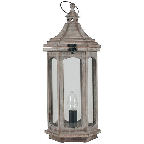 Antique Wood Grey Table Lamp Lantern