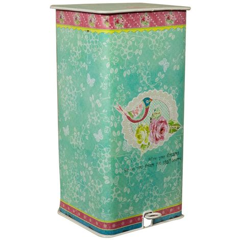 Antiqued decorated metal W30xDP31xH60 cm sized pedal bin